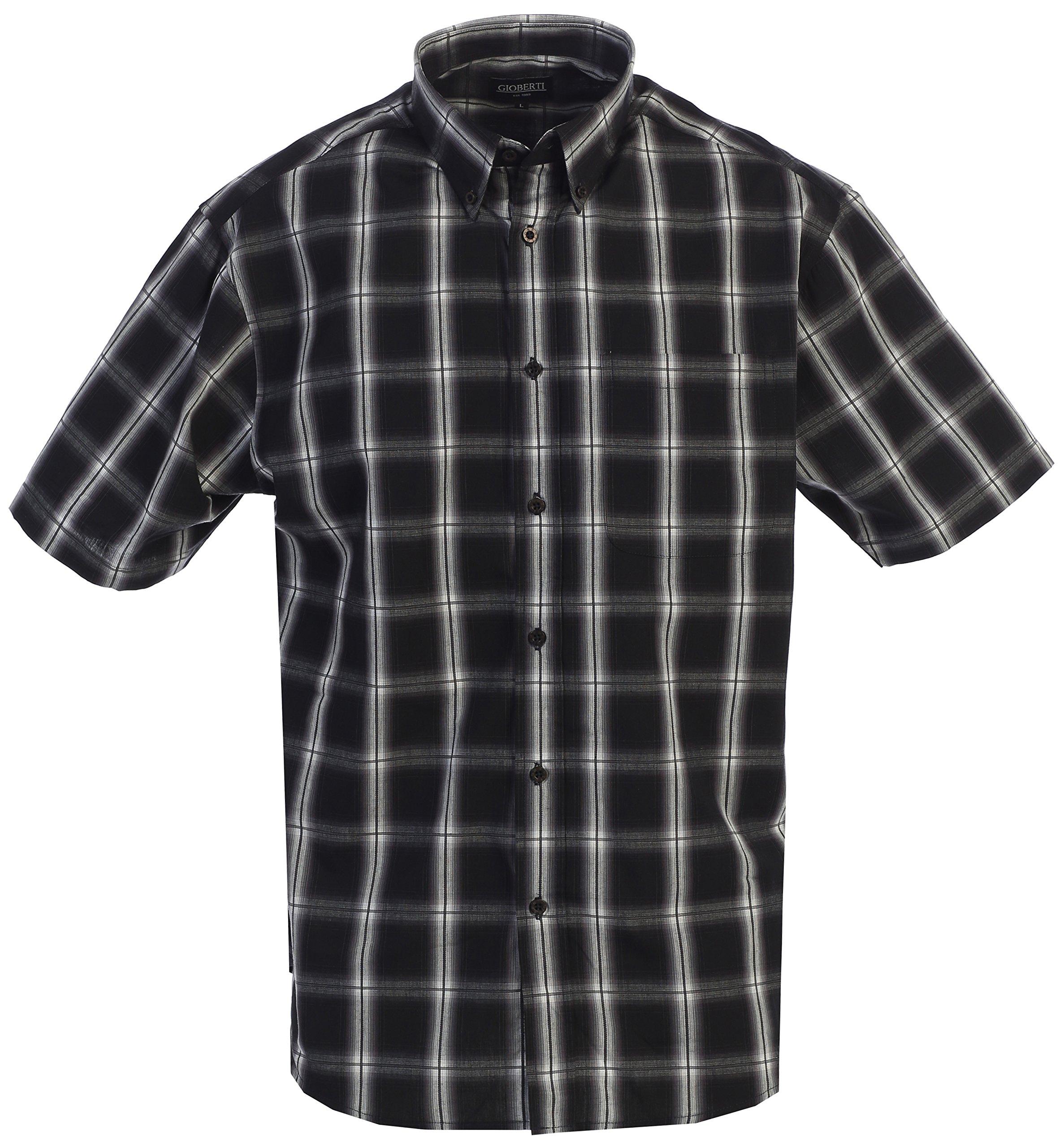 Gioberti Men's Plaid Short Sleeve Shirt, Black/Gray/White Highlight, X Large