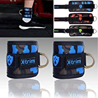 Xtrim Dura Lift Ankle Straps Ankle Straps - for Cable Machines- Double-D-Ring - Adjustable Neoprene Cuffs to Enhance Legs, Abs & Glutes for Men & Women- Pack of 2 Straps