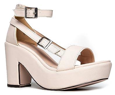 Chunky Platform Strappy Sandal - Ankle Strap Block Heel - Flatform Casual  Shoe Remy by J c0747c2452e8