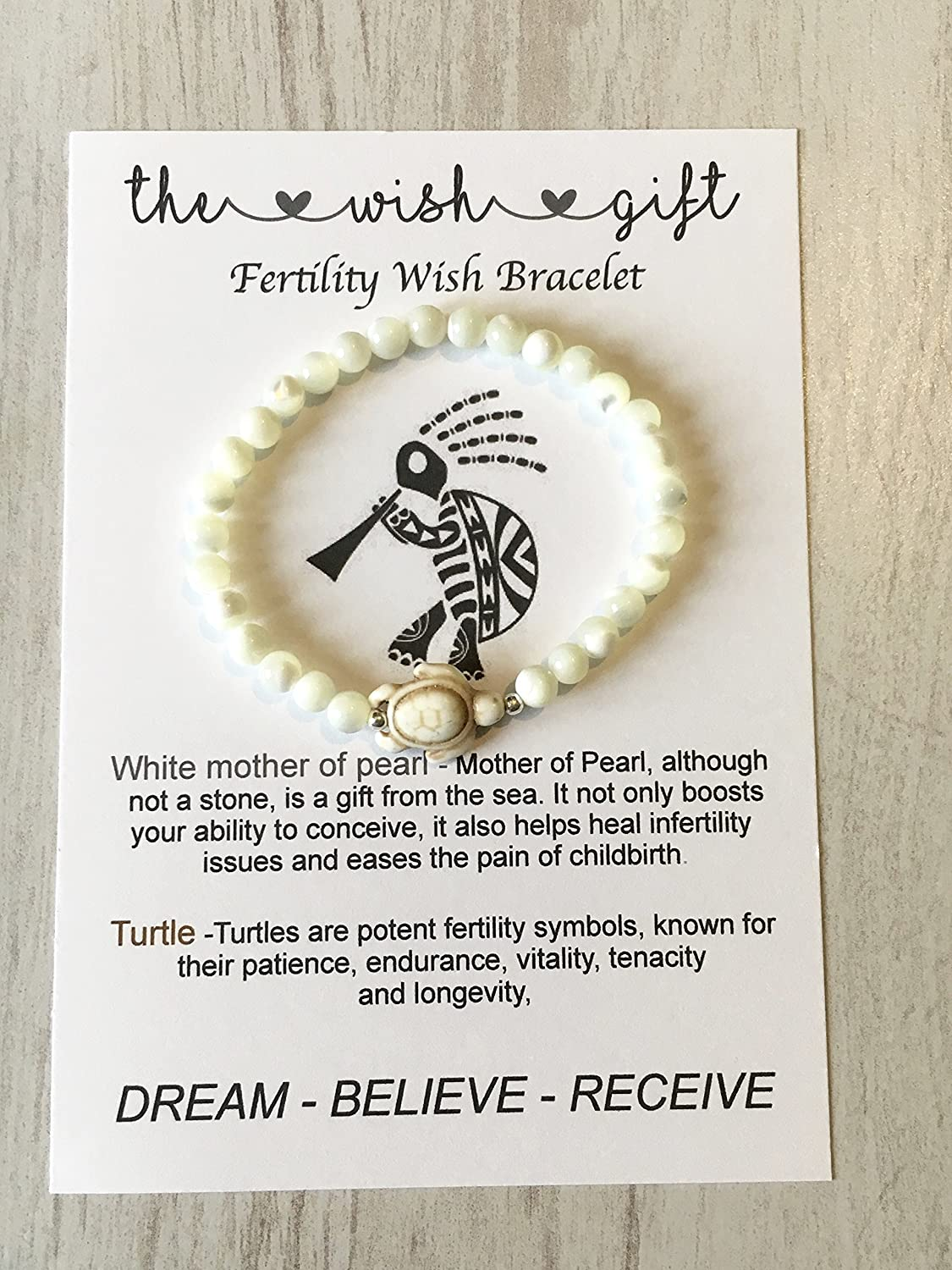 Fertility Gemstone Stretch Bracelet Mother Of Pearl And Turtle