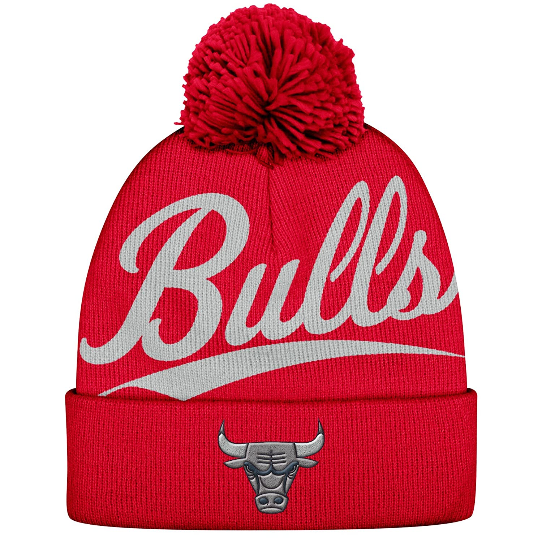 6c0403fc28d ... australia amazon nba mitchell ness greyton script cuffed pom beanie  knit hat chicago bulls sports outdoors