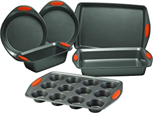 Rachael Ray Cucina Nonstick Bakeware Set with Grips includes Nonstick Cake Pans, Nonstick Loaf Pan, Cookie Sheet/Baking Sheet and Muffin Pan/Cupcake Pan - 6 Piece, Grey with Orange Handles