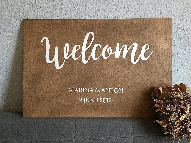 Cartel de Bienvenida de madera para Boda: Amazon.es: Handmade