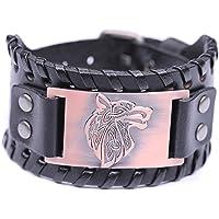 Lemegeton Pagan Celtic Knot Wolf Fenrir Cuff Wide Leather Bracelets Viking Punk Jewelry for Men