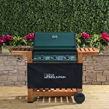 Fire Mountain Elbrus 3 Burner Gas Barbecue in Powder-Coated Steel and Wood - Temperature Gauge, Piezo Ignition, Drip Tray, Wooden Shelves, Free Propane Regulator & Hose