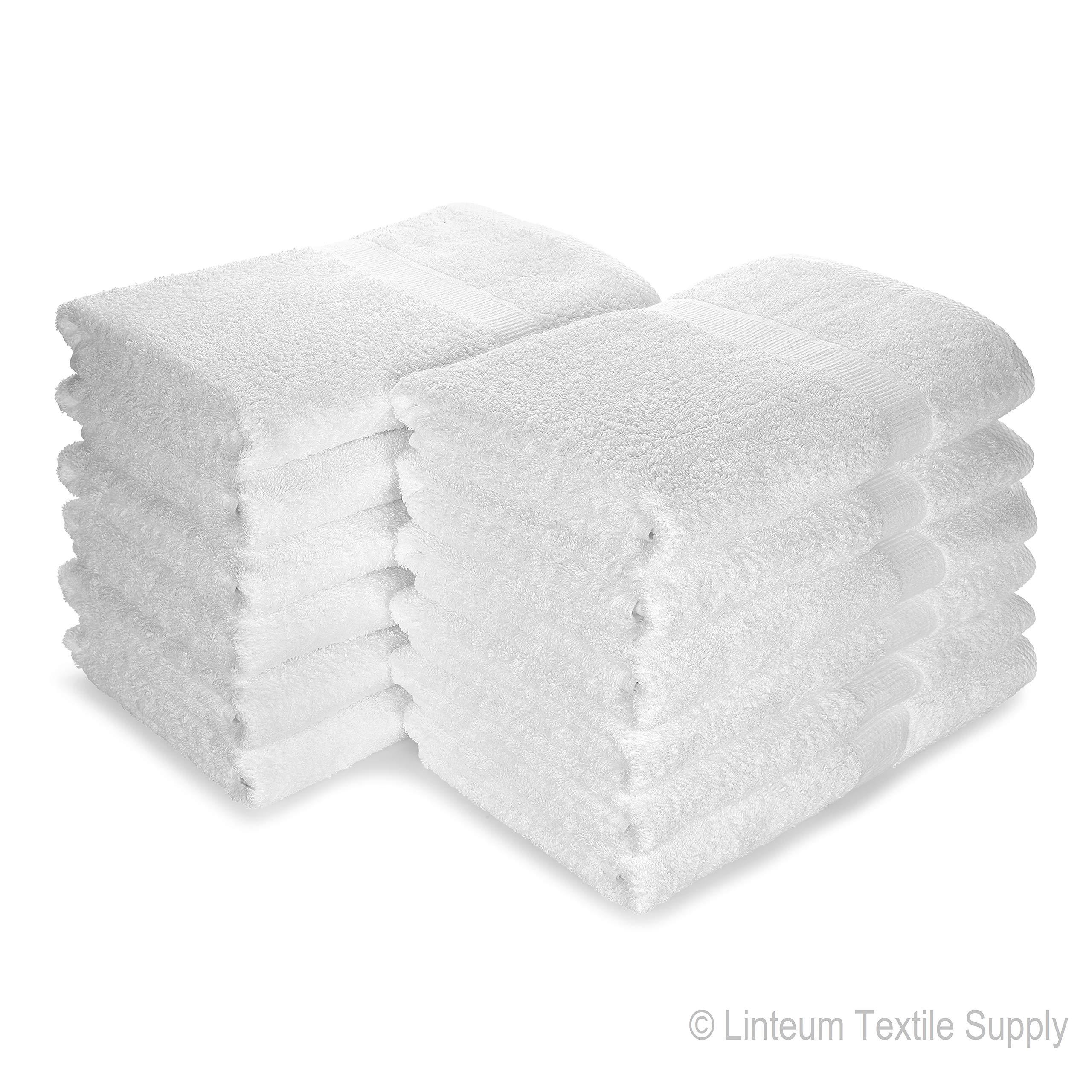 Linteum Textile (12-Pack, 24x48 in, White) Hotel-Quality Bath Towels, 100% Soft Cotton