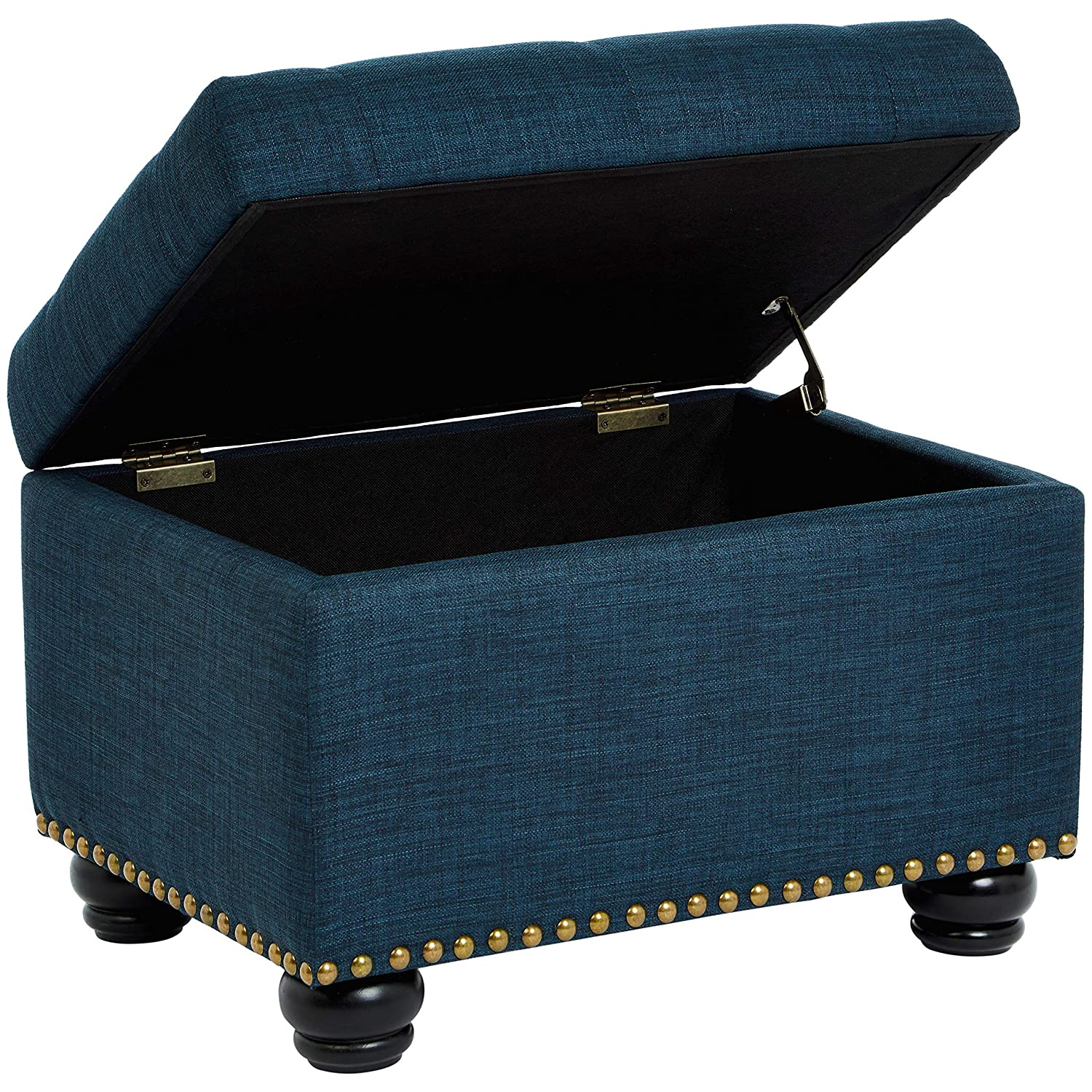 First Hill Callah Rectangular Storage Ottoman with Tufted Fabric Upholstery, Victorian Blue