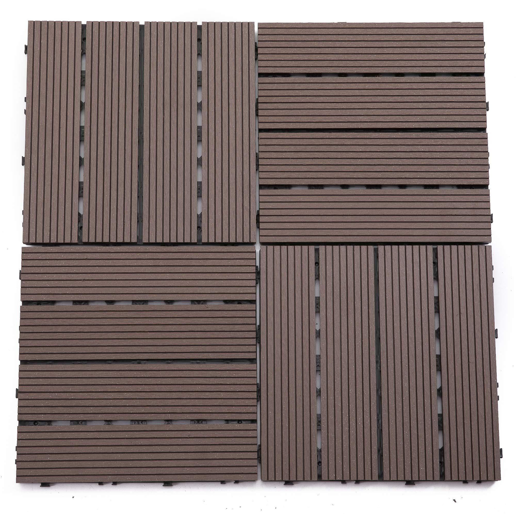 Samincom (22 Pieces) Deck Tiles Interlocking Wood-Plastic Composites Patio Pavers, One Pack Coffee