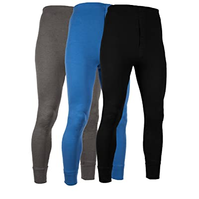 AMERICAN ACTIVE Men's Long Johns Thermal Base Layer Pants 100% Cotton Fleece Lined Underwear -Pack of 3 at Men's Clothing store