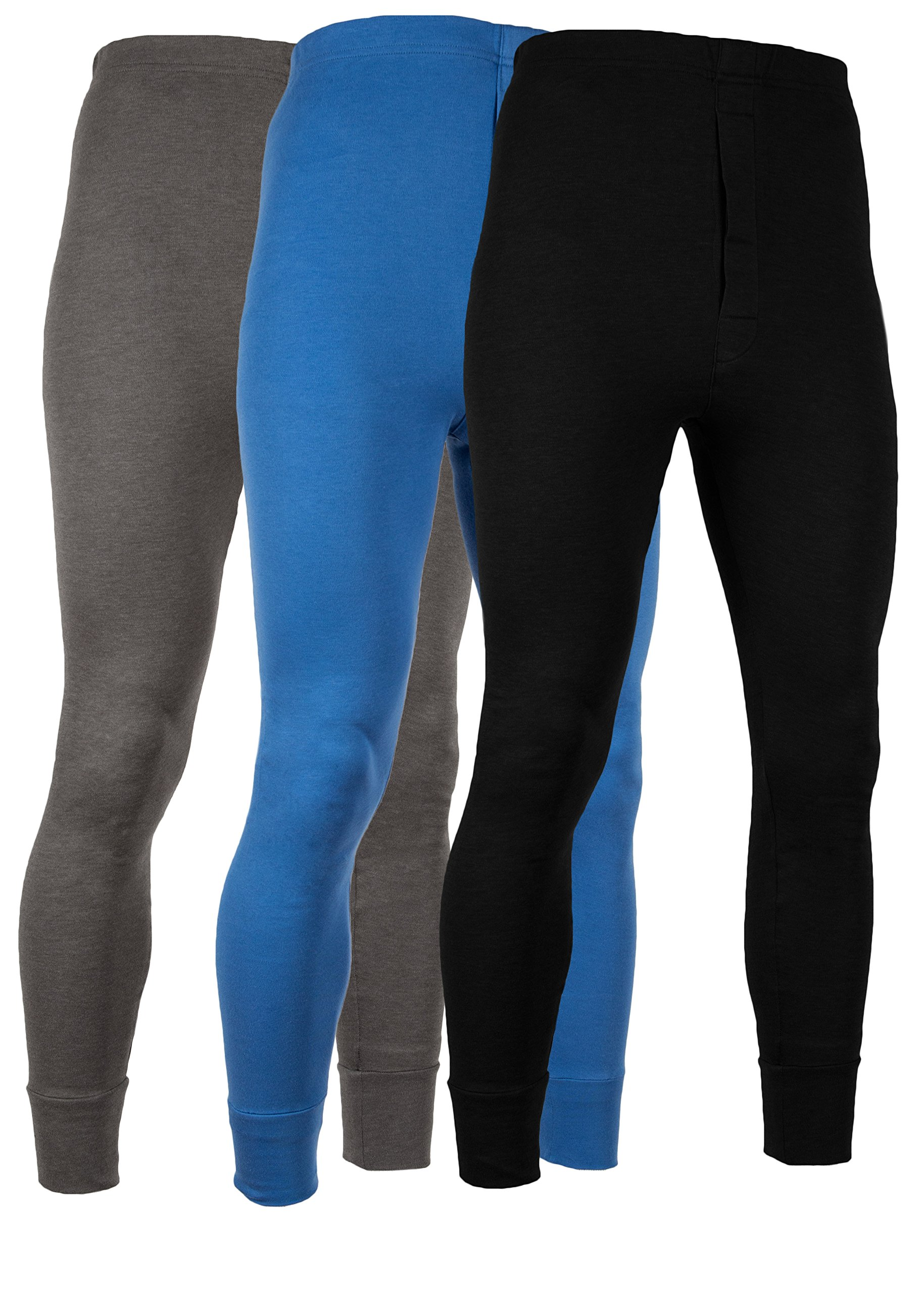 AMERICAN ACTIVE Men's Long Johns Thermal Base Layer Pants 100% Cotton Fleece Lined Underwear -Pack of 3 (3 Pack - Denim/Charcoal/Black, Large) by AMERICAN ACTIVE