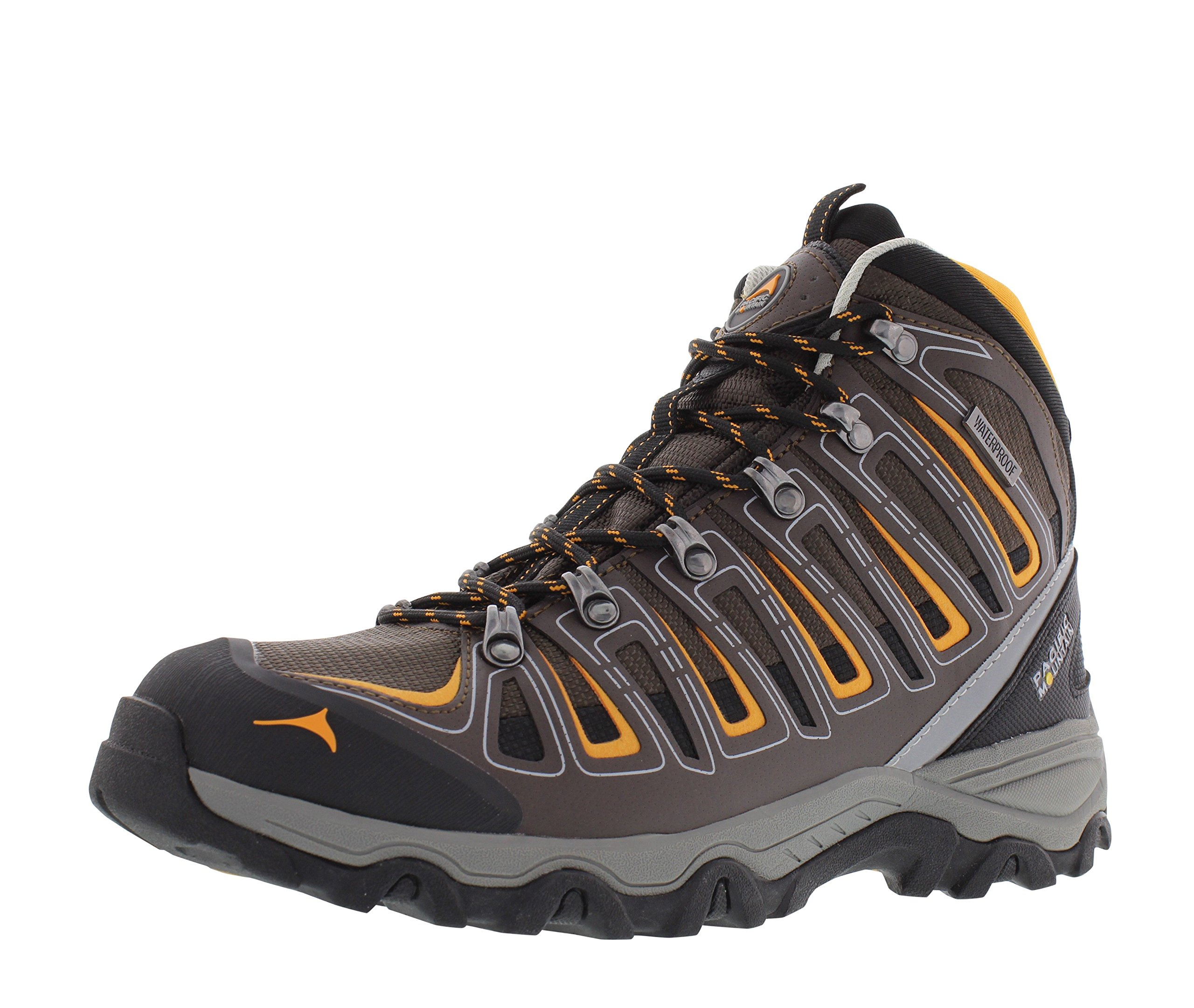 Pacific Mountain Incline Men's Waterproof Hiking Backpacking Mid-Cut Chocolate/Orange/Black Boots Size 7.5