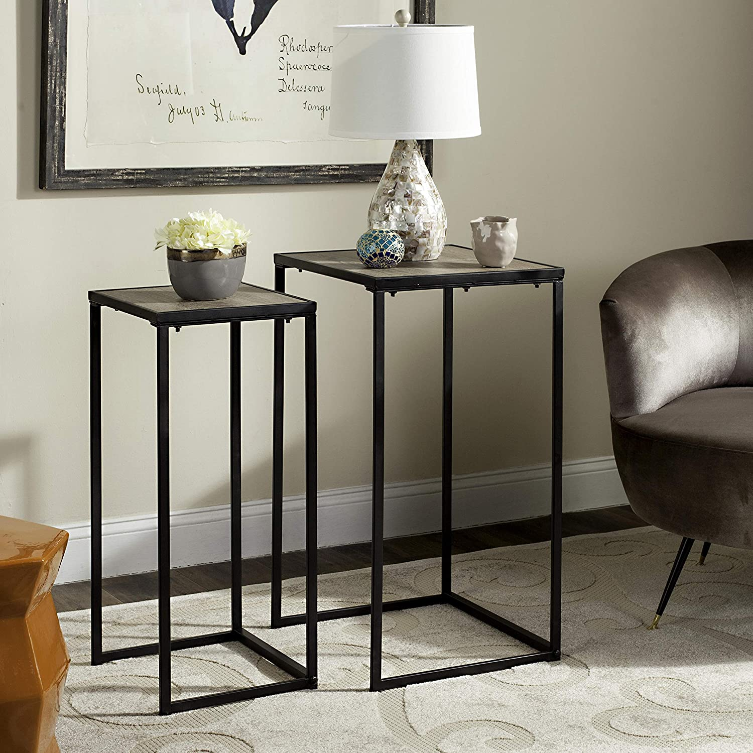 Safavieh Home Collection Callia Retro Mid-Century Light Oak and Black Wood Stacking End Table