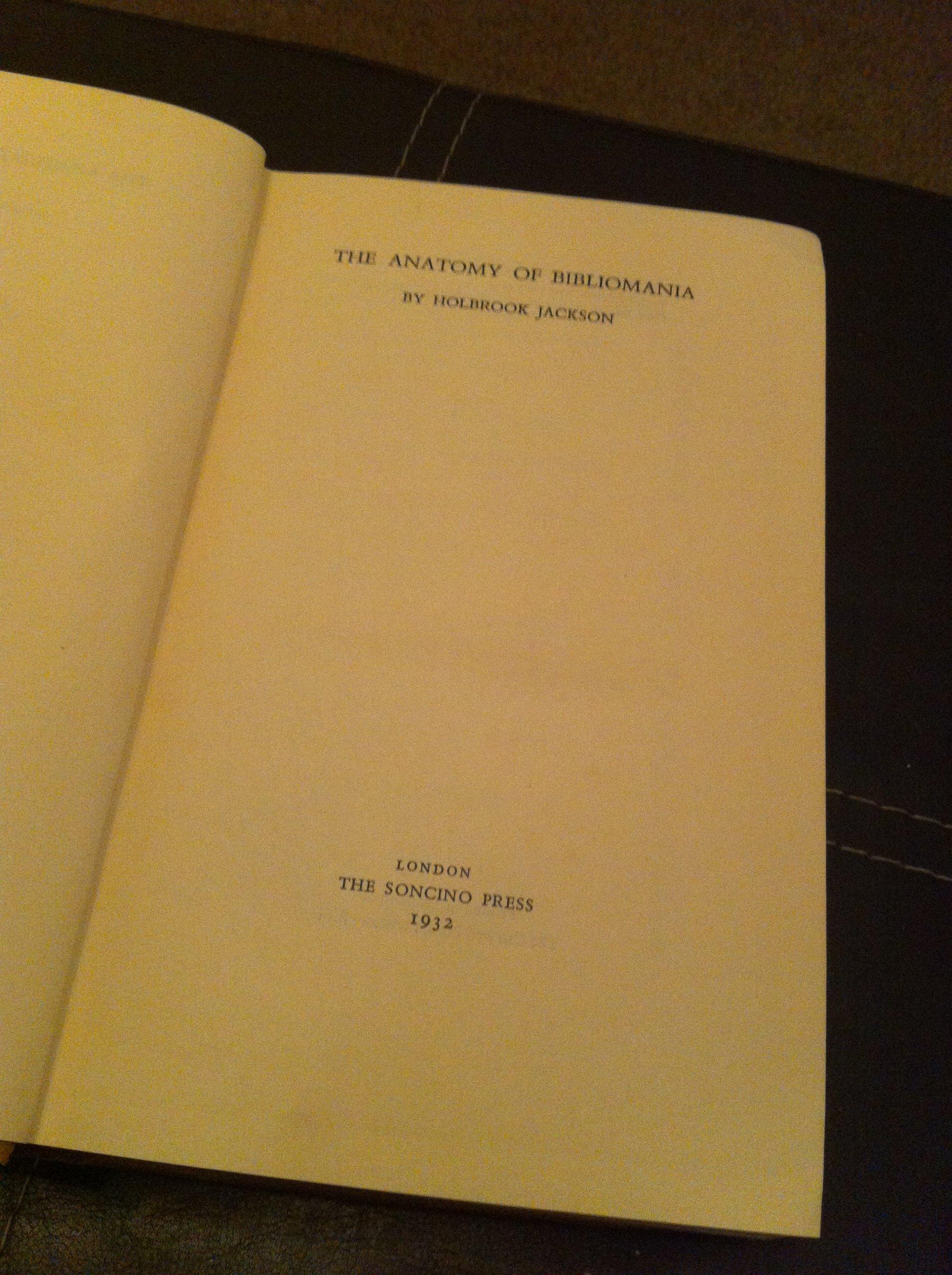 The Anatomy Of Bibliomania: Amazon.de: Jackson Holbrook: Bücher