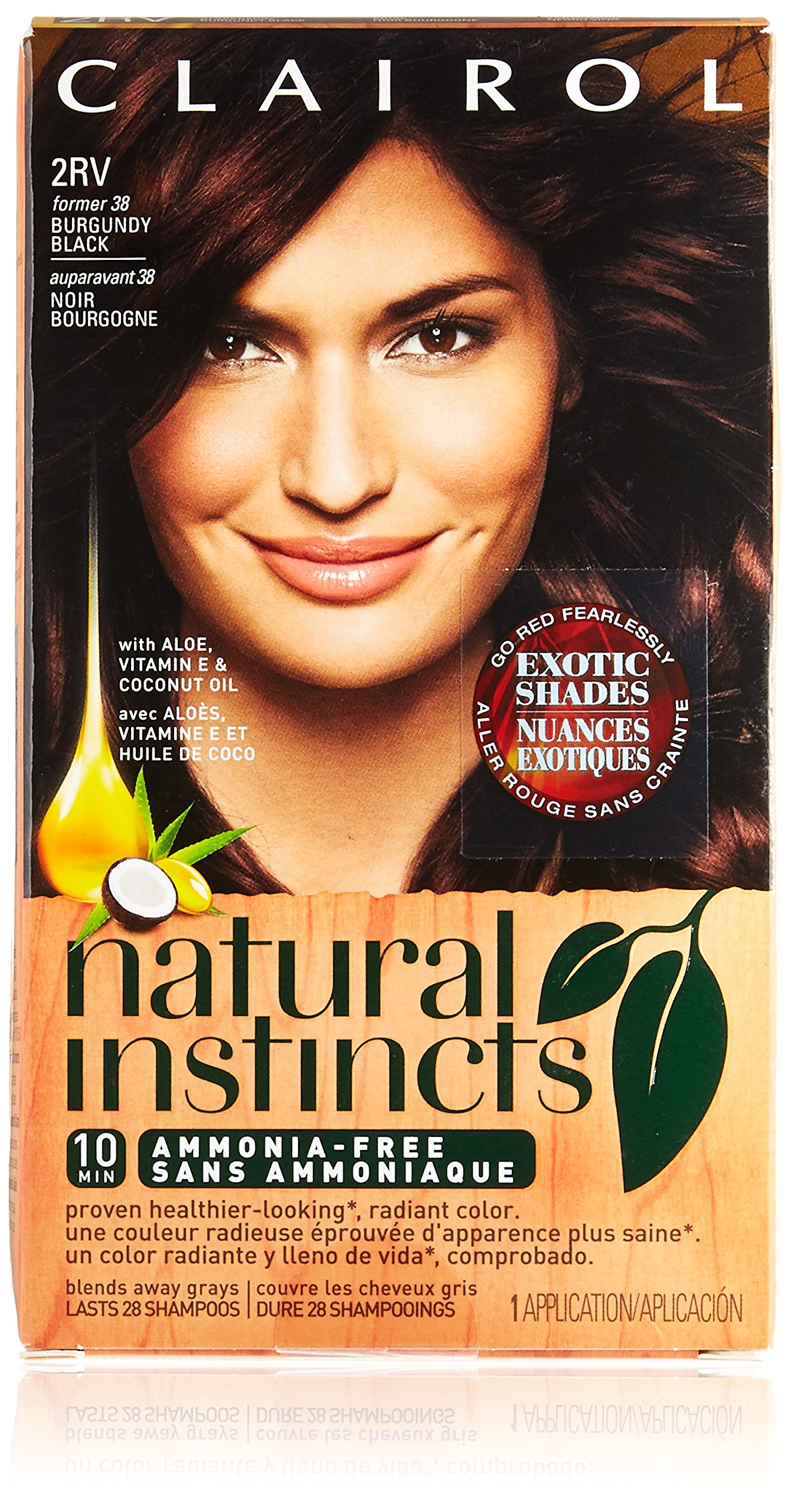 Clairol Natural Instincts, 2RV / 38 Blackberry Burgundy Black, Semi-Permanent Hair Color, 1 Kit by Clairol