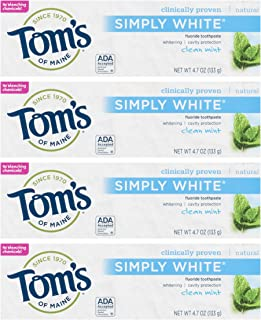 product image for Toms Of Maine Simply White Natural Flouride Toothpaste, Clean Mint - 4.7 Oz ( Pack of 4 )