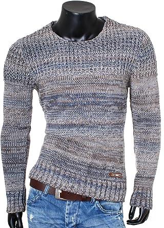 Carisma Herren grober Strickpullover Kontrast Muster mehrfarbig tiefer  breiter Rundhals Ausschnitt Pullover Strick Knit Slimfit 7267 c1c46f7f80
