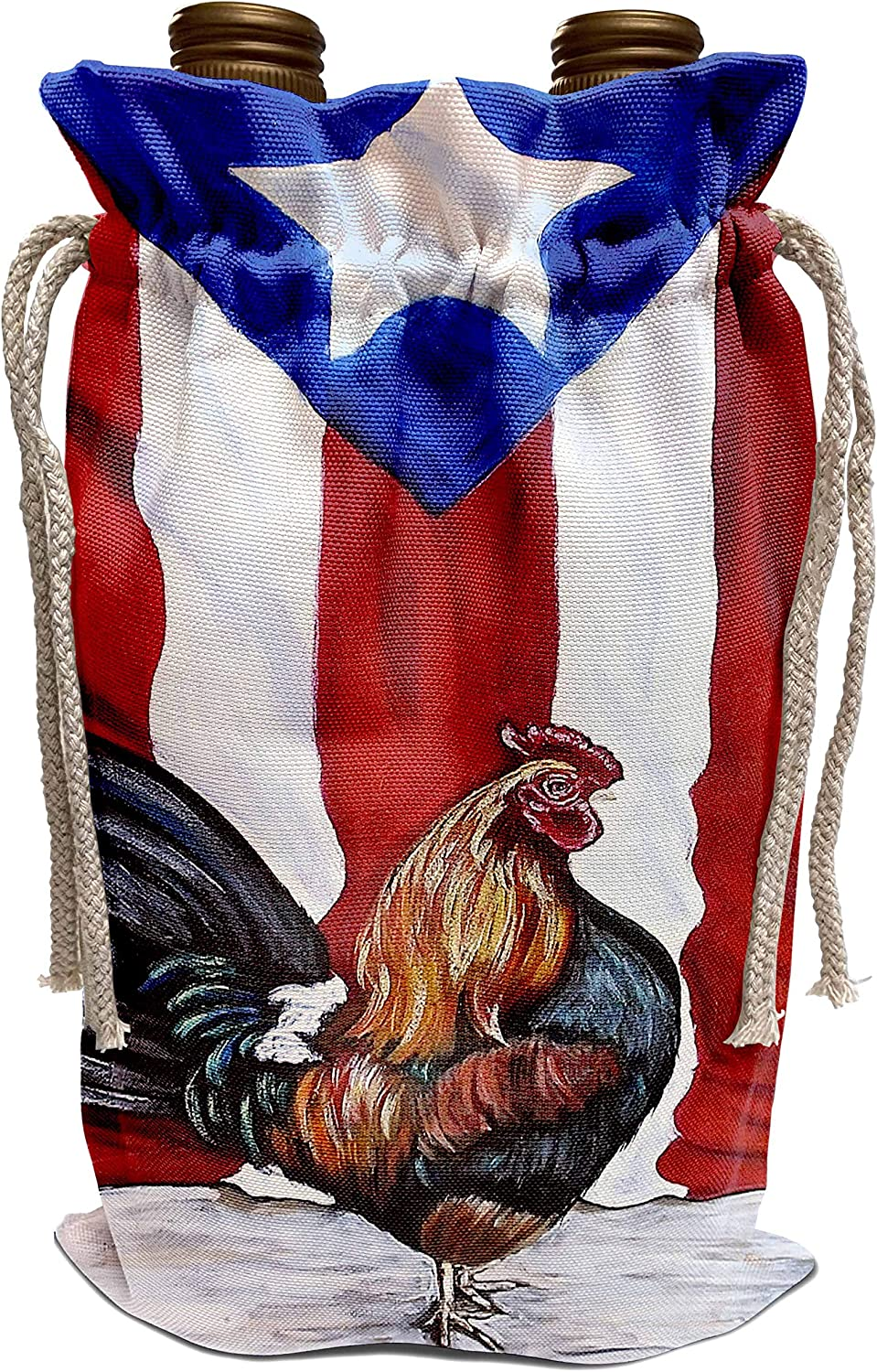 3dRose Melissa A. Torres Puerto Rican Art - Rooster with Puerto Rican Flag - Wine Bag (wbg_186792_1)