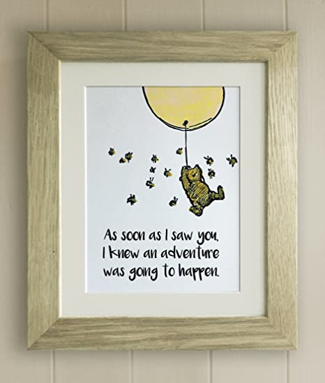 Winnie The Pooh Framed Quote Print New Babybirth Nursery Picture