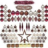 100ct decorazioni di albero di Natale pieno set ITART ornamenti di Natale baubles ornamenti assortiti, compresi Topper, fiocchi di neve, perline, tinsel, mini scatole Gife, coni di pino, Teardrop (Cha