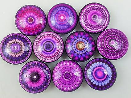 Superbe Set Of 10 Purple Mandala Cabinet Knobs