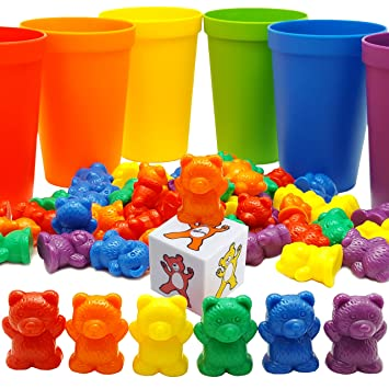 Amazon.com: Rainbow Counting Bears with Matching Sorting Cups ...