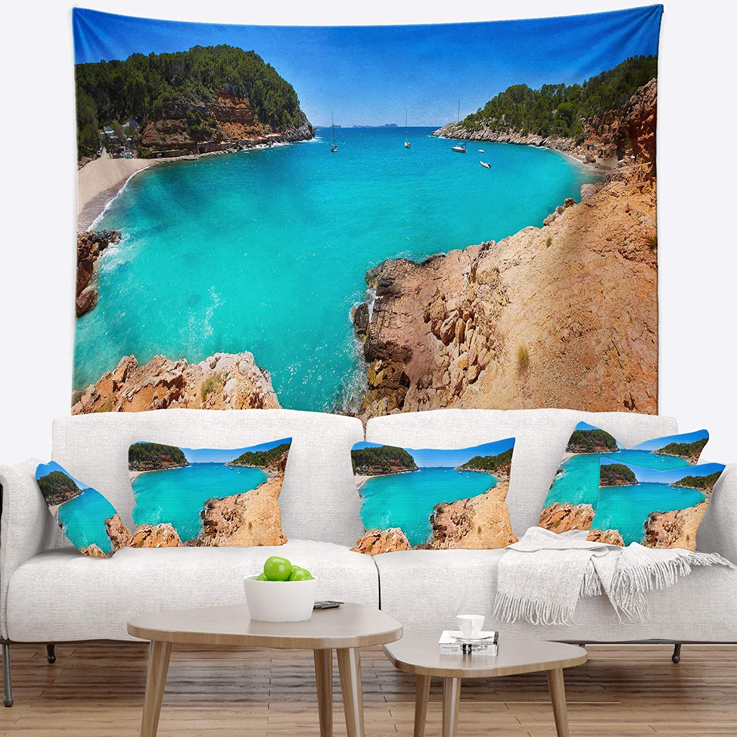 x 32 in Created On Lightweight Polyester Fabric 39 in Designart TAP11469-39-32  Saladeta Ibiza in San Antonio Modern Seascape Blanket D/écor Art for Home and Office Wall Tapestry Medium