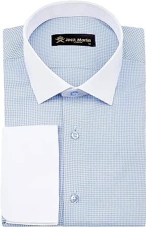 Jack Martin London Camisa de dientes de puppytooth de doble puño azul