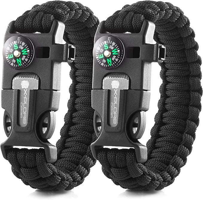 Adjustable Paracord Bracelet Glow in the Dark Wristband Camping Emergency Tools