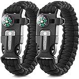 X-Plore Gear Emergency Paracord Bracelets | Set of 2| The Ultimate Tactical Survival Gear| Flint Fire Starter, Whistle, Compa