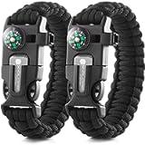 X-Plore Gear Emergency Paracord Bracelets   Set of 2  The Ultimate Tactical Survival Gear  Flint Fire Starter, Whistle…
