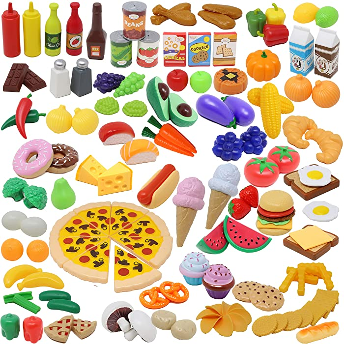 Play Food Set 135 Pieces Play Kitchen Set for Market Educational Pretend Play, Food Playset, Kids Toddlers Toys, Kitchen Accessories Fake Food, Party Favor Supplies, Holiday