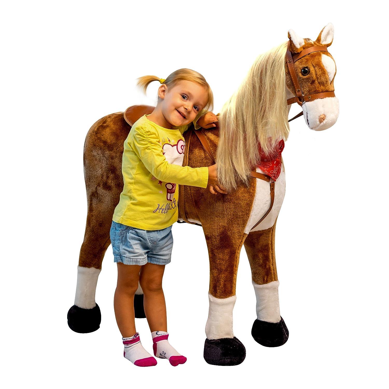 Pink Papaya Plüschpferd XXL 105cm - Das riesige Pferd zum Reiten, Ein Stehpferd XXL, bis 100kg, Spiel-Pferd zum Draufsitzen - Ein Kinder Traum für Mädchen! Farbe: weiß 3S GmbH & Co. KG