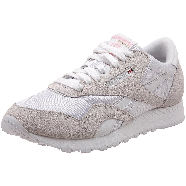 Reebok Damen Classic Nylon Sneakers  385 EU|Wei? (White/Light Grey)