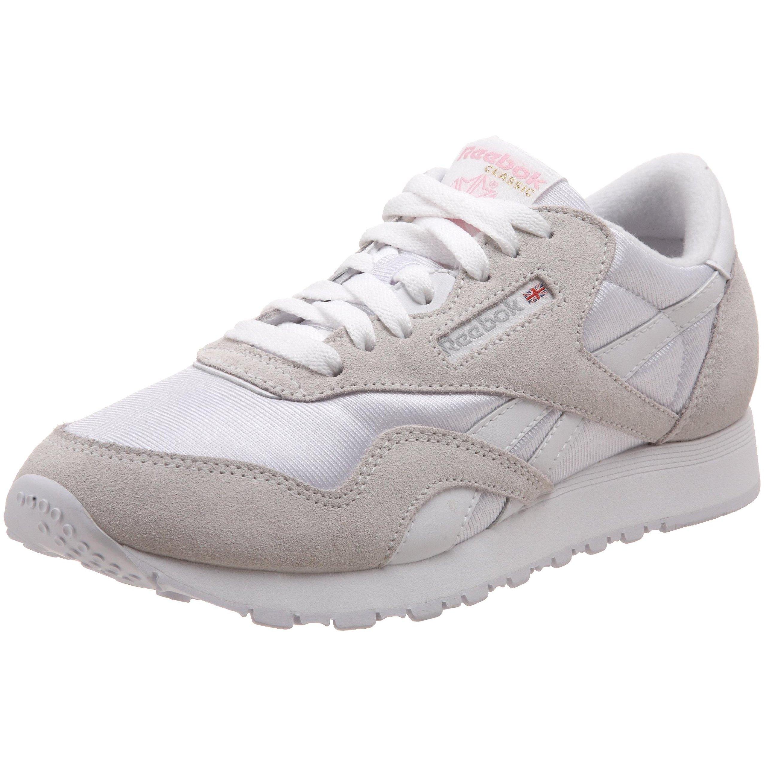 Reebok Women's Classic Nylon Sneaker, White/Light Grey, 11 M US