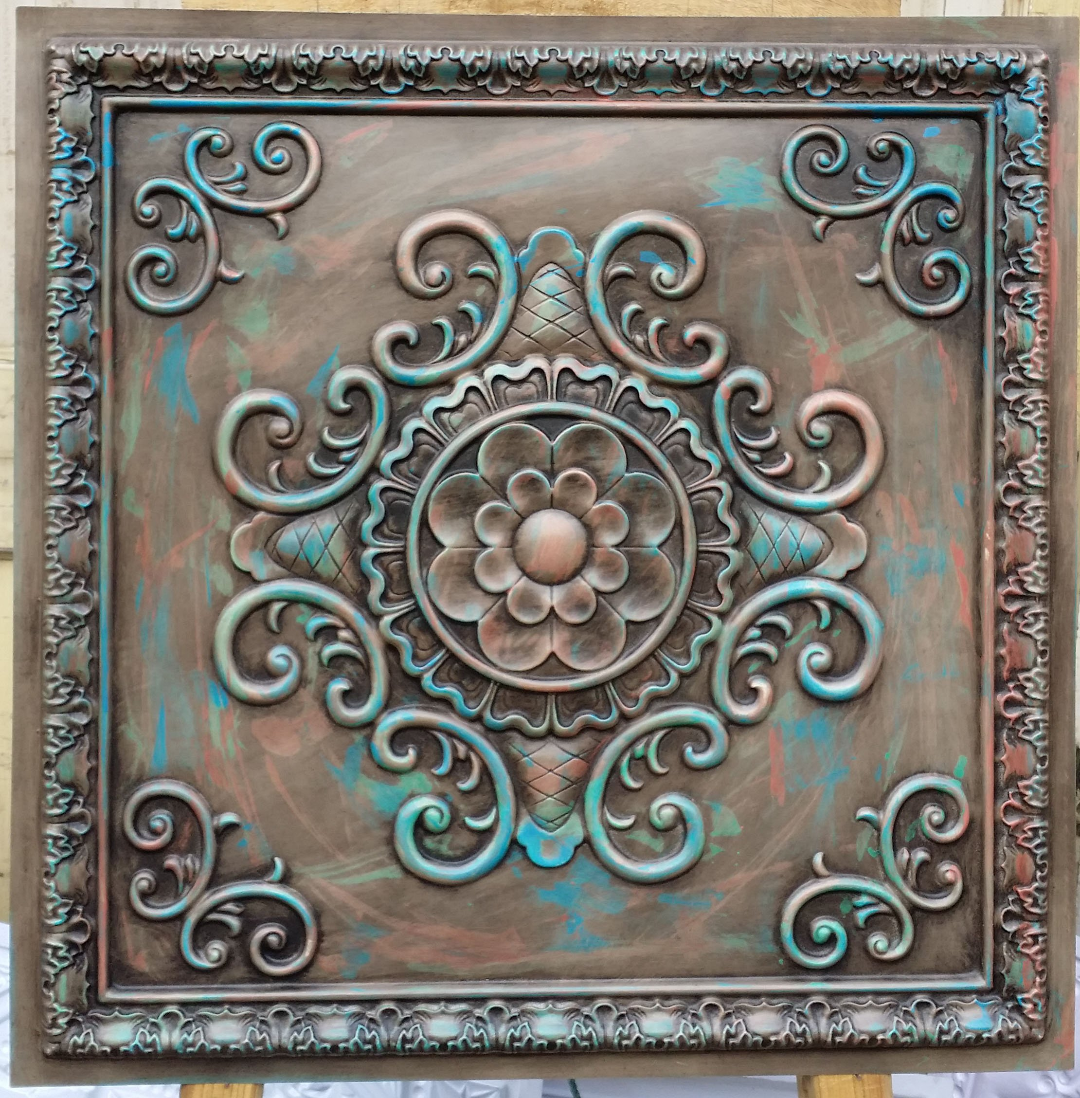 Pl08 Faux Tin Finish Artistic Multicoloured Ceiling Tiles 3d Emboss Cafe Pub Shopping Art Decor Wall Panels 10pieces/lot