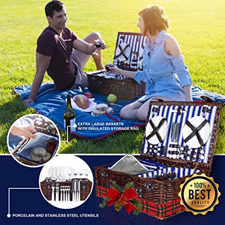 4 Person Wicker Picnic Basket Deluxe Woven Willow Vintage Hamper Set – Porcelain Plates, Stainless Steel Silverware, Opener and Real Glass Wine Glasses Free Cold Storage Bag Extra-Large 22 X 15 in.