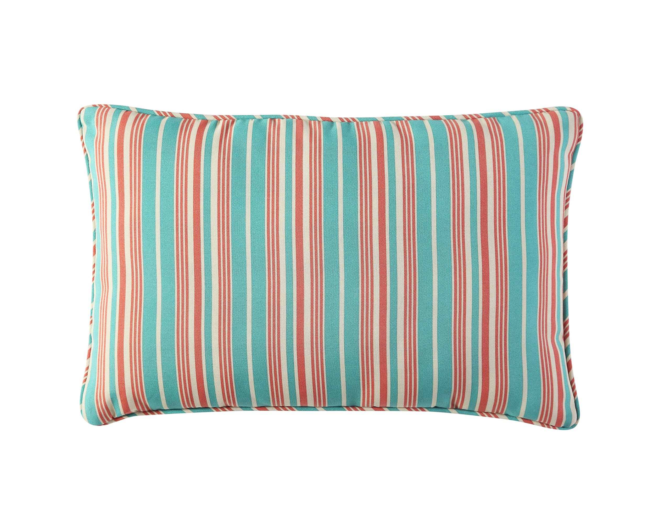 WAVERLY Indoor/Outdoor Decorative Throw Cushion – 19 x 12 Inches, FILLING INCLUDED, Available in Many Designs, Comfortable and Durable (Aran Capri)
