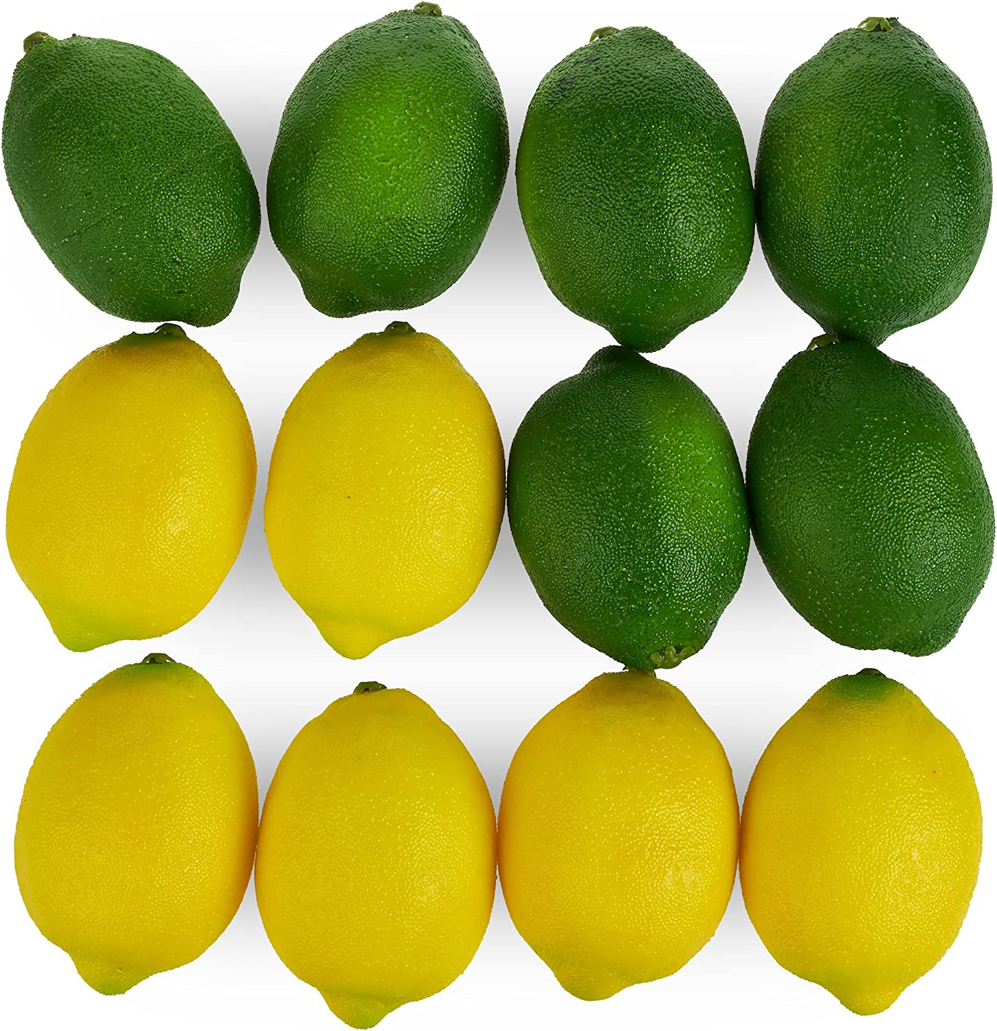 Juvale Large Artificial Lemons and Limes, Realistic Decorative Home Kitchen Fake Prop Fruit - Set of 12