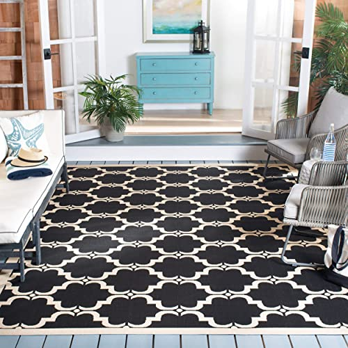 Safavieh Courtyard Collection CY6009-226 Black and Beige Indoor Outdoor Area Rug 9 x 12