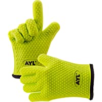 AYL Silicone Cooking Gloves - Heat Resistant Oven Mitt for Grilling BBQ Kitchen - Safe Handling of Pots and Pans…