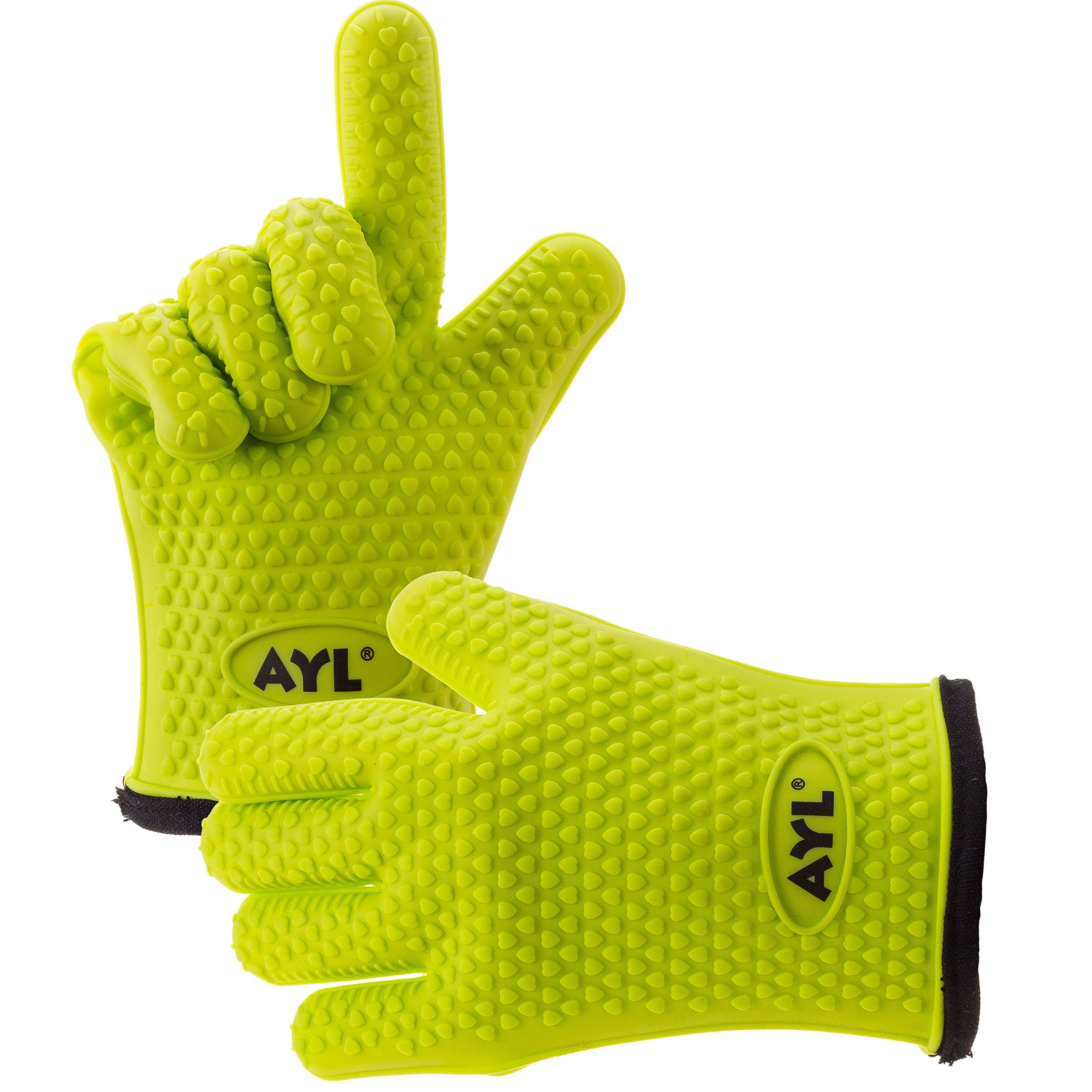AYL Silicone Cooking Gloves - Heat Resistant Oven Mitt for Grilling, BBQ, Kitchen - Safe Handling of Pots and Pans - Cooking & Baking Non-Slip Potholders - Internal Protective Cotton Layer by AYL