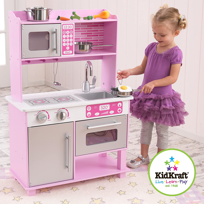 Amazon.com: KidKraft Girlu0027s Pink Toddler Kitchen With Accessories: Toys U0026  Games