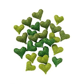 Sisalherzen, grün, 24 Stck. - natürliche Dekoration zur Hochzeit ...