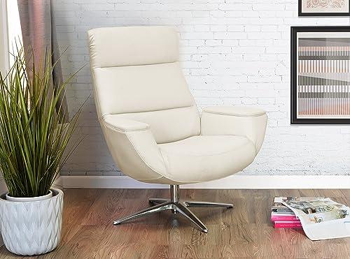 Serta Style Logan Collaboration Lounge Chair, Linen Fabric, Ivory