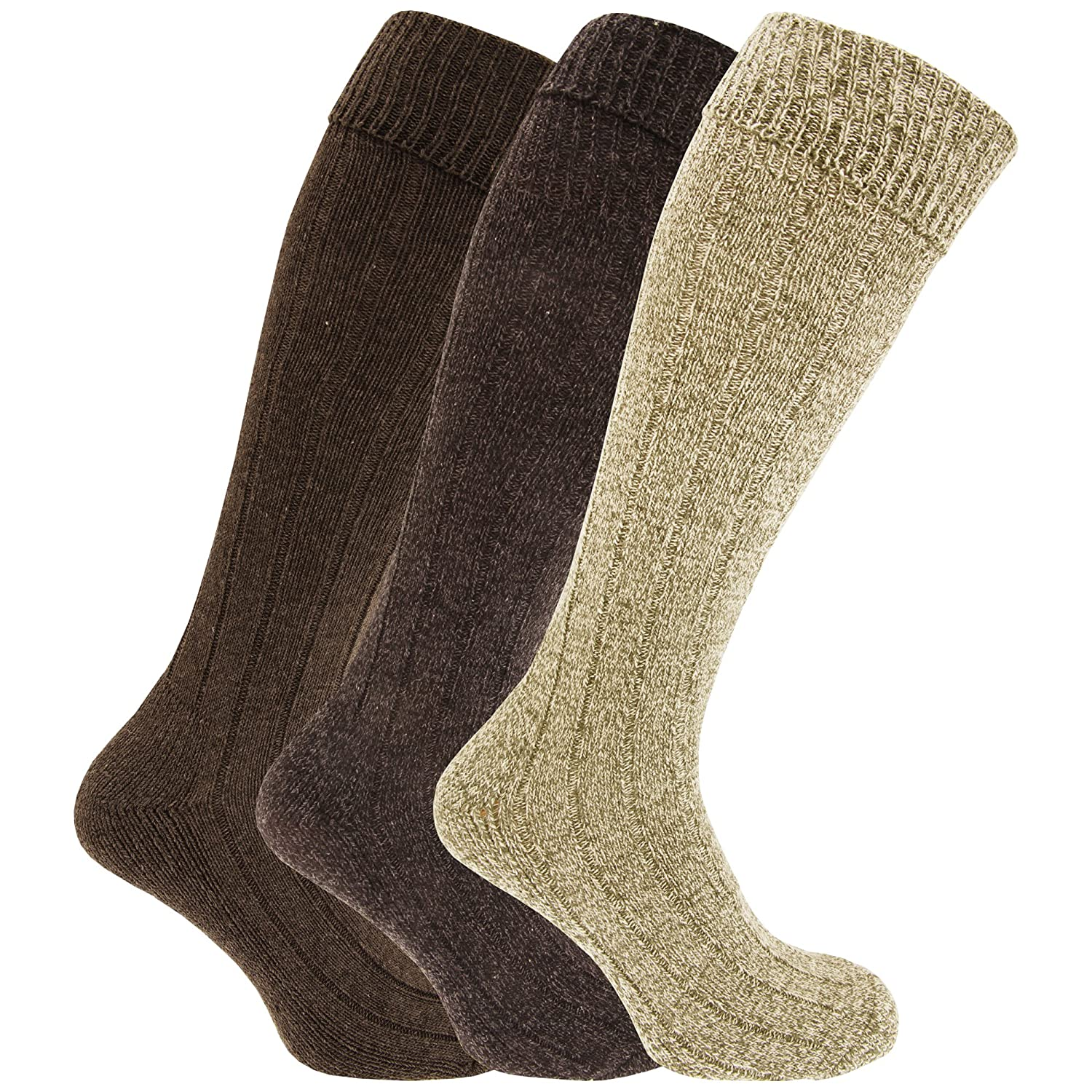 310cc2c4a Mens Knee High Chunky Thermal Wool Boot Socks (Pack Of 3) (US 8-12) (Shades  Of Dark Grey)  Amazon.ca  Clothing   Accessories