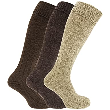 d40d820a5 Mens Knee High Chunky Thermal Wool Boot Socks (Pack Of 3) (US 8-12 ...