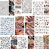 Xinfenglai 3D Strap Adhesive Nail Stickers, Mixed Self-adhesive Nail Stickers, 8PCS, of Nail Stickers, Nail Art Delicate Deco