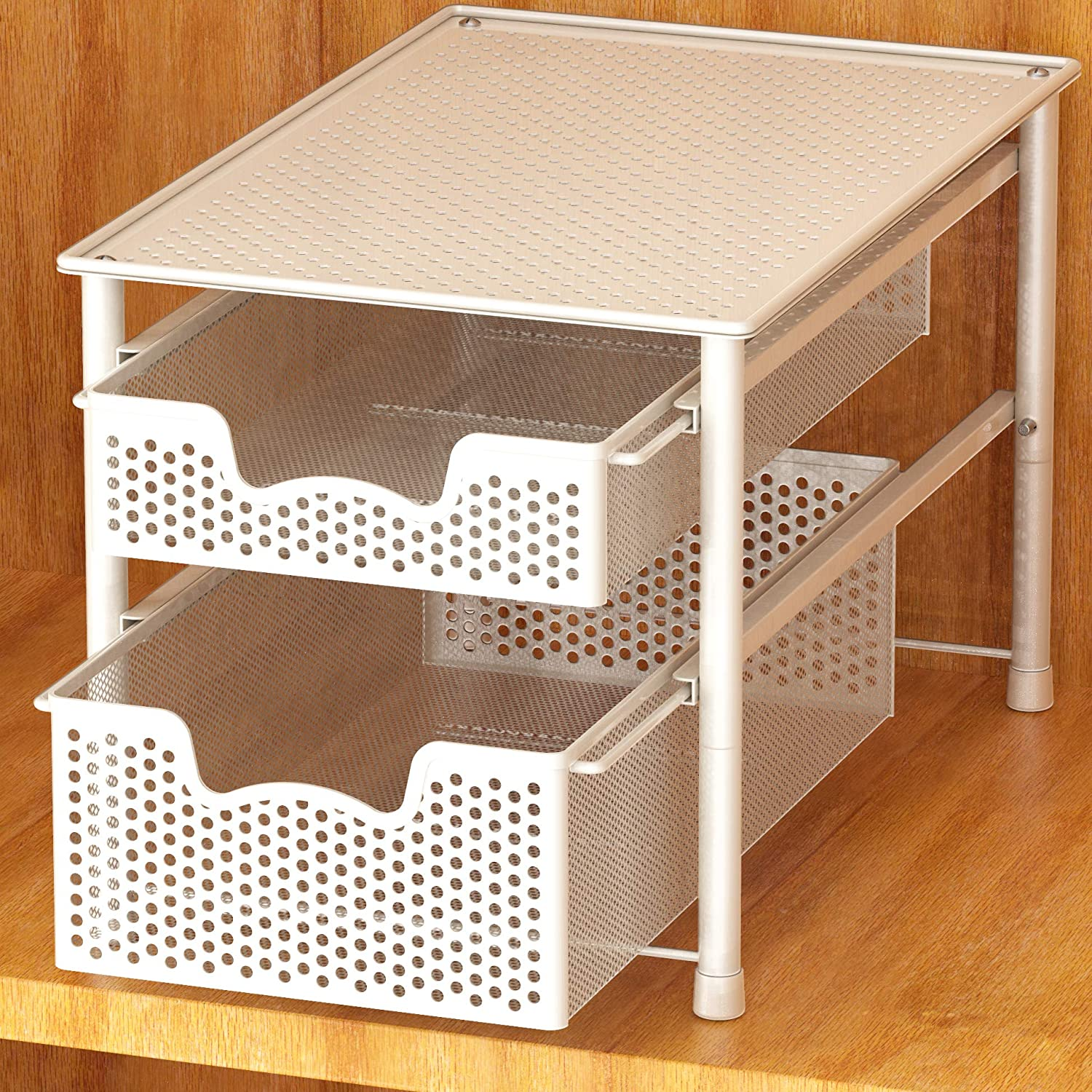 Simple Houseware Stackable 2 Tier Sliding Basket Organizer Drawer, White