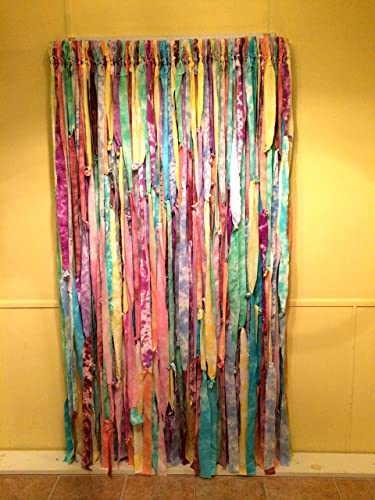 Multi Color Tie Dyed Hippie Curtains (Easter, Gypsy, Boho, Closet Curtain,