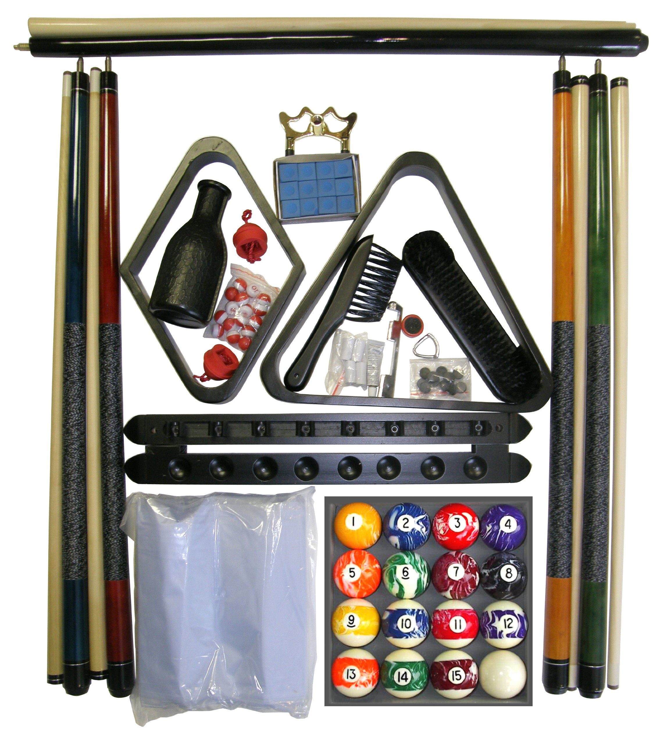Black Finish Billiard Pool Table Accessory Kit W Marble - Swirl Ball Set